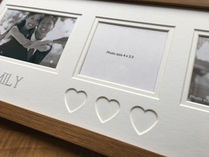 Personalised Heart Photo Frame 20 x 8 Oak
