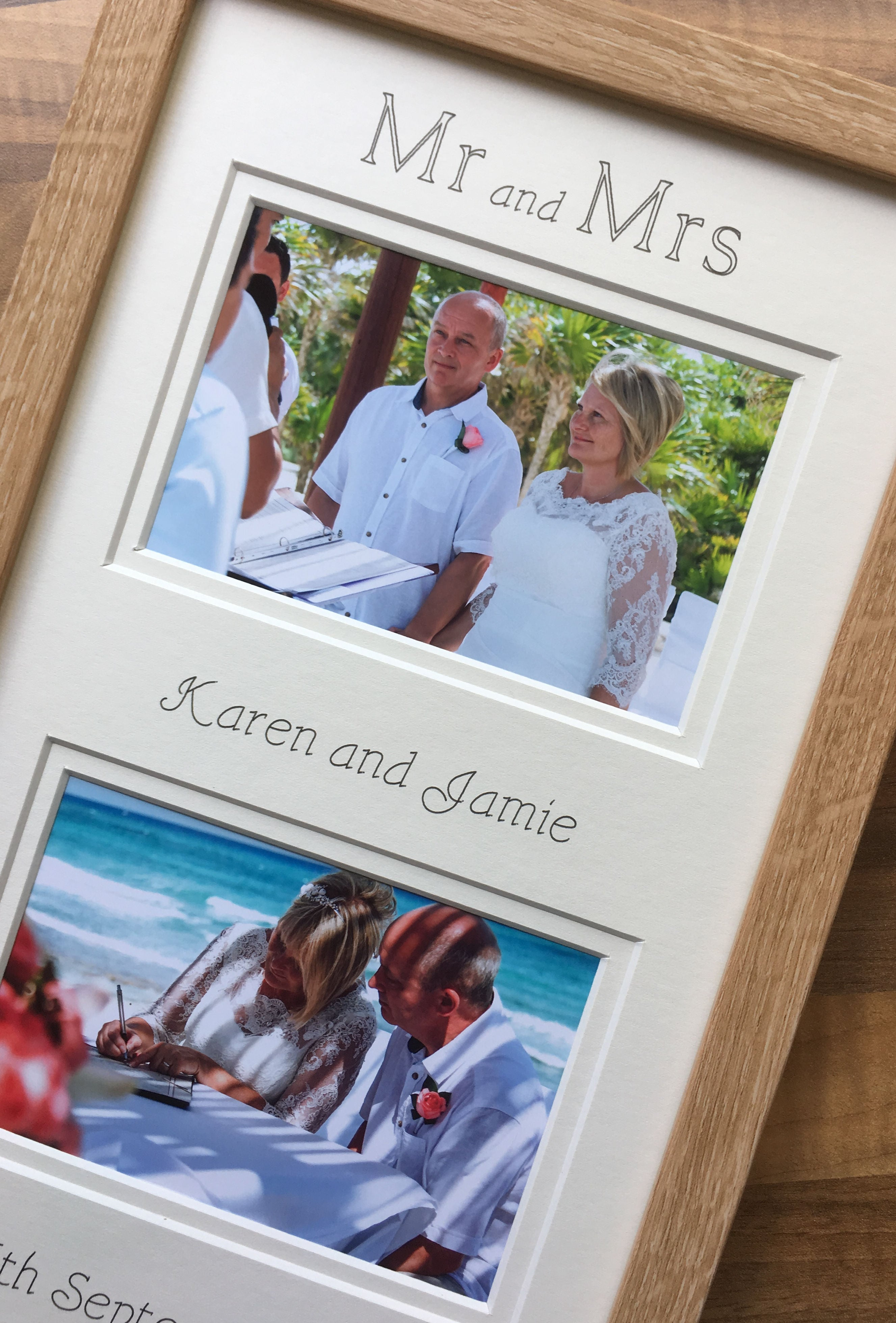 Mr and Mrs Personalised Name Wedding Date Collage Photo Frame Beech ...