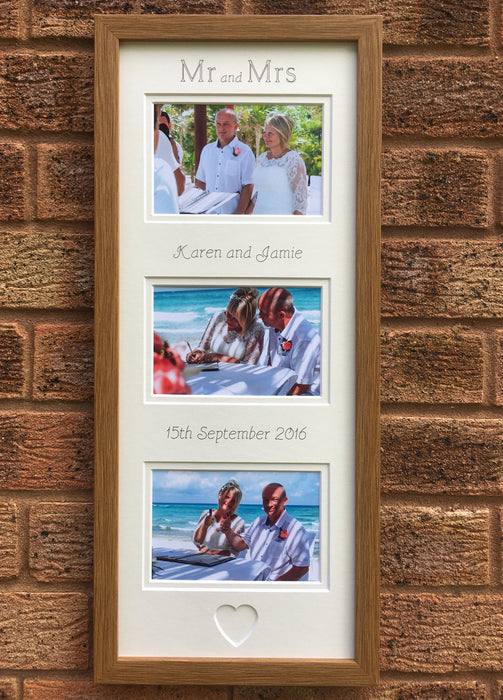 Mr & Mrs Picture Frame, Oak 20 x 8