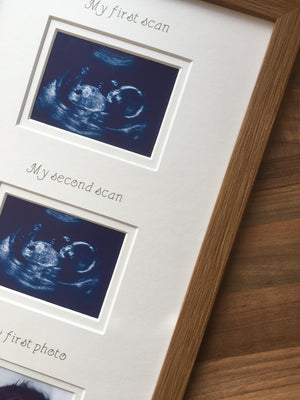 2 Scans and Baby 1st Photo Frame 20 x 8 Oak - White Border