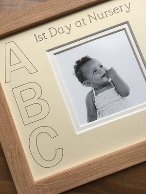 Customise Year First Day at Nursery ABC Photo Frame 9 x 7 Beech