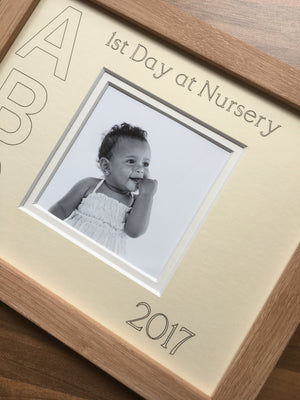 1st Day at Nursery ABC Year Cream Mount Beech Frame