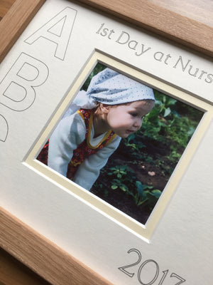 1st Day at Nursery ABC Year White Mount Beech Frame