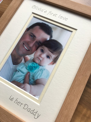 Personalise Name Girl First love Daddy Photo Frame 9 x 7