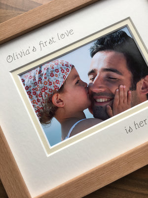 Personalise Name Girl 1st love Daddy Photo Frame 9 x 7