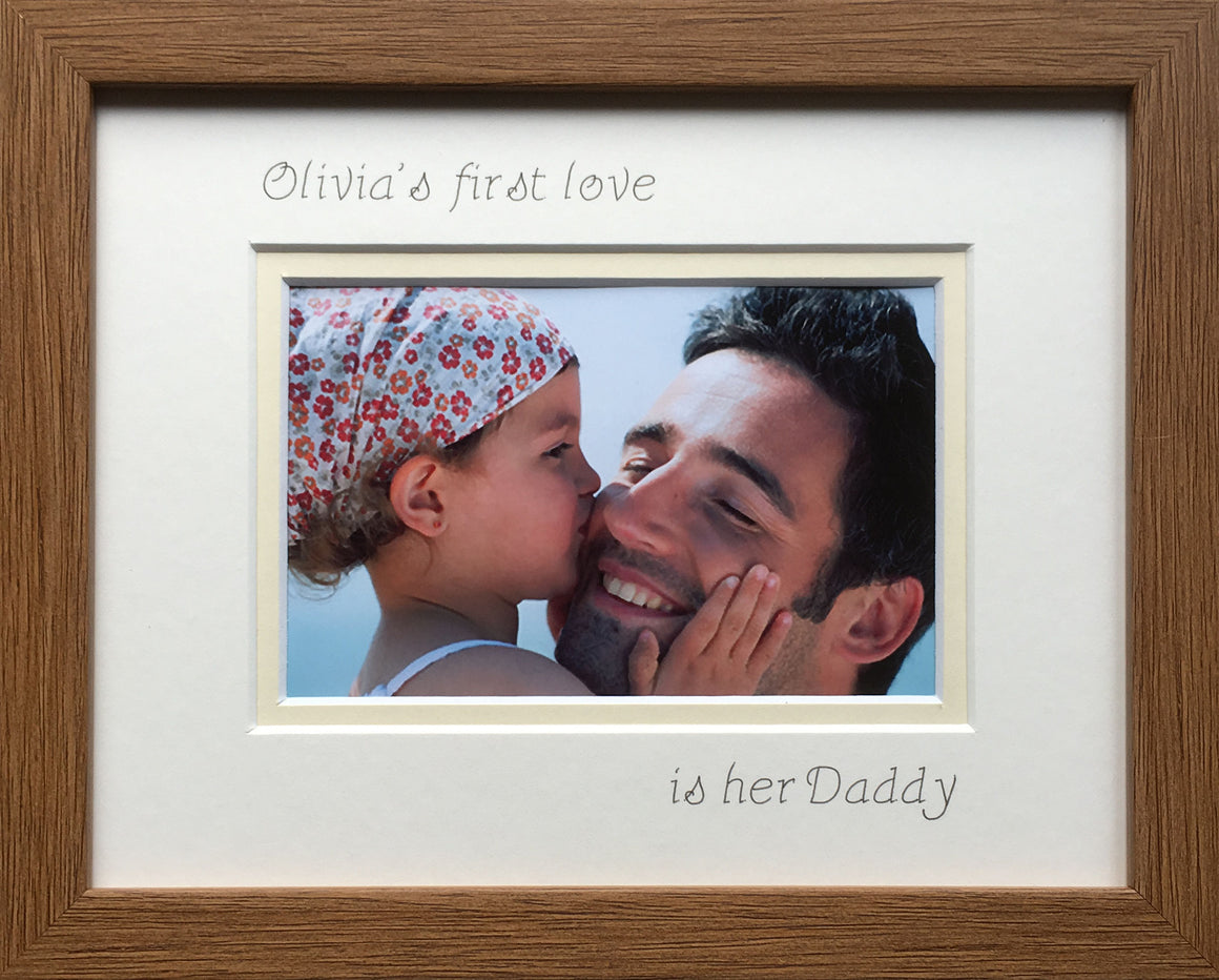 Personalised Girl Name First Love is her Daddy 9 x 7 Landscape