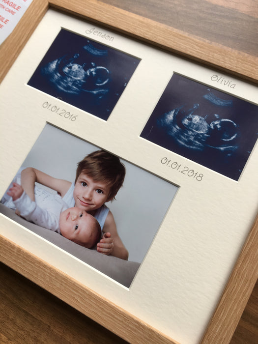 2 scans 2 siblings photo frame Beech 12 x 10