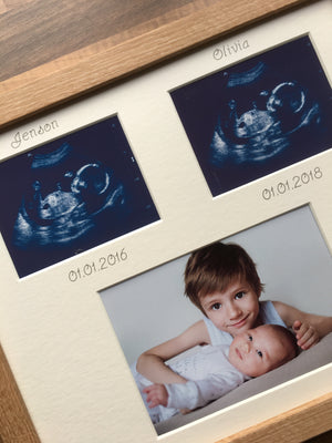 2 scans 2 siblings personalised photo frame Beech 12 x 10