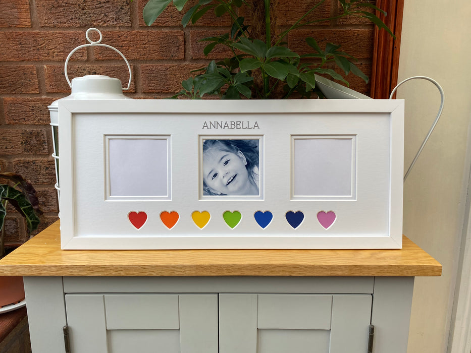 Rainbow Hearts Personalised Picture Frame 20 x 8 White