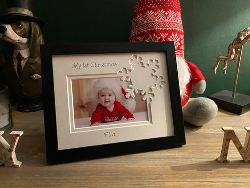 First Christmas Snowflake Black Frame