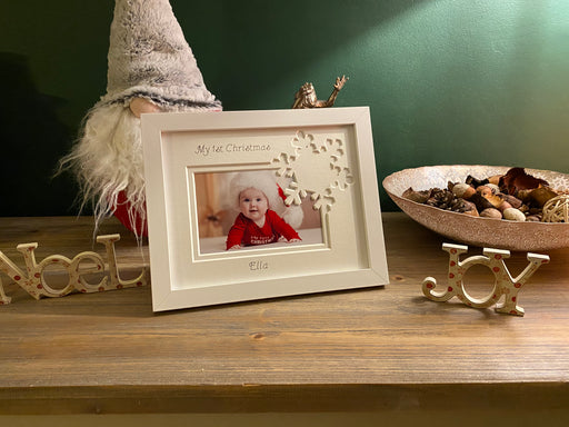 White First Christmas Snowflake Frame