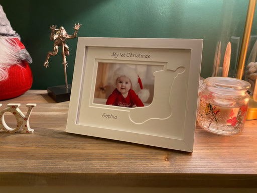 First Christmas stocking photo frame
