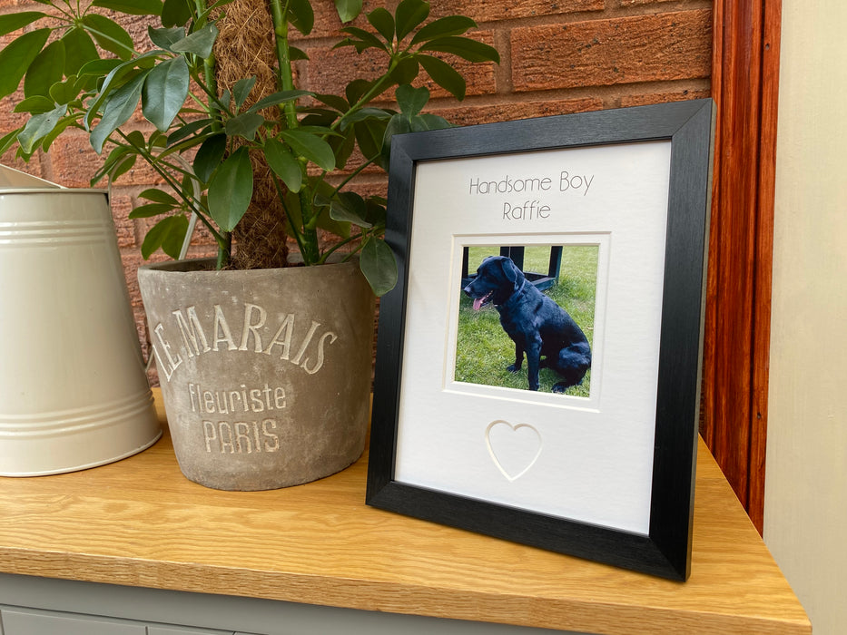 Handsome Boy Dog Picture Frame - Black