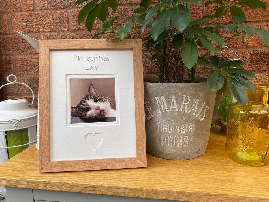Personalised Glamour Puss Photo Frame - Beech