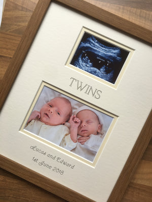 Twins Ultrasound Scan First Photo Frame