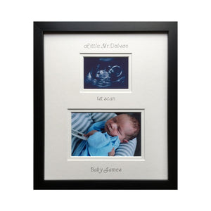 Miss or Master Surname Baby 1st Scan Photo 12 x 10 Black
