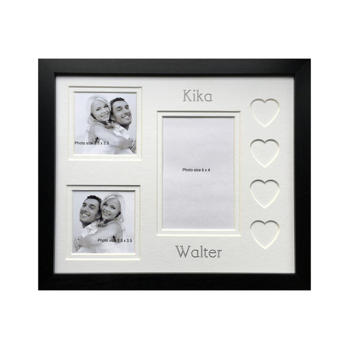 Personalised Name Love Heart Couple Photo Frame 12 x 10 Black