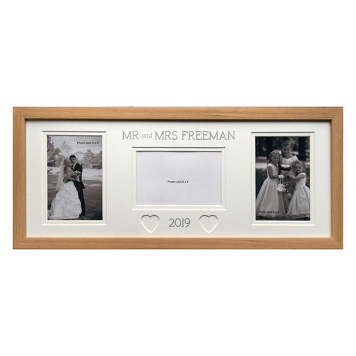 Mr & Mrs Hearts Wedding Photo Frame Beech-20x8