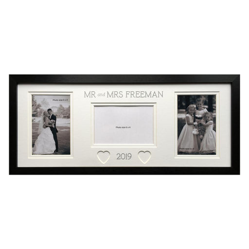 Mr and Mrs Customised Wedding Heart Picture Frame 20 x 8 Black