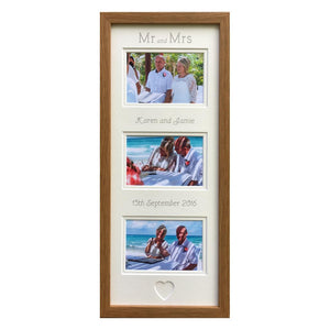 Mr and Mrs Wedding Photo Frame 20 x 8 - Oak