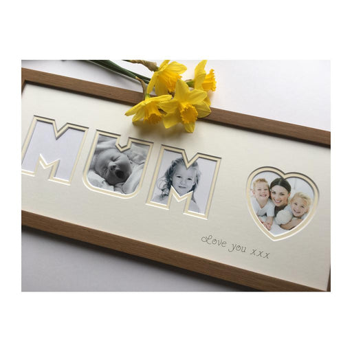 Mum Heart Collage Oak Photo Frame