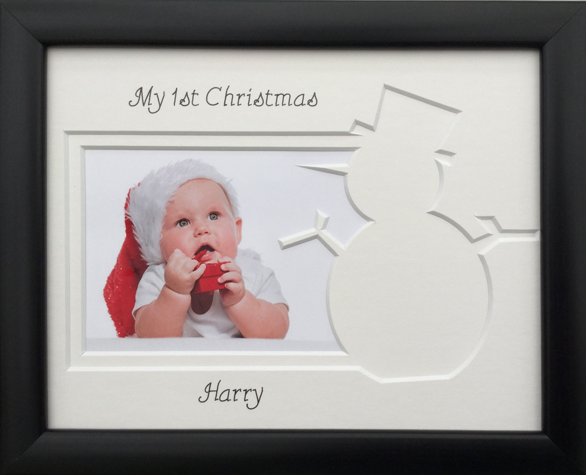 Personalised My First Christmas Photo Frame Snowman 9 x 7 Black ...