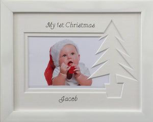 Personalised My First Christmas Photo Frame Christmas Tree 9 x 7 White