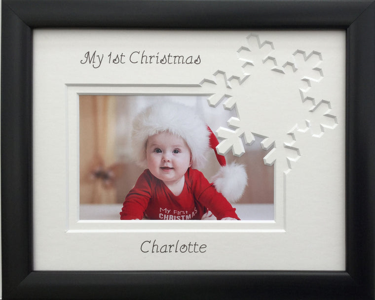 Personalised My First Christmas Photo Frame Snowflake 9 x 7 Black