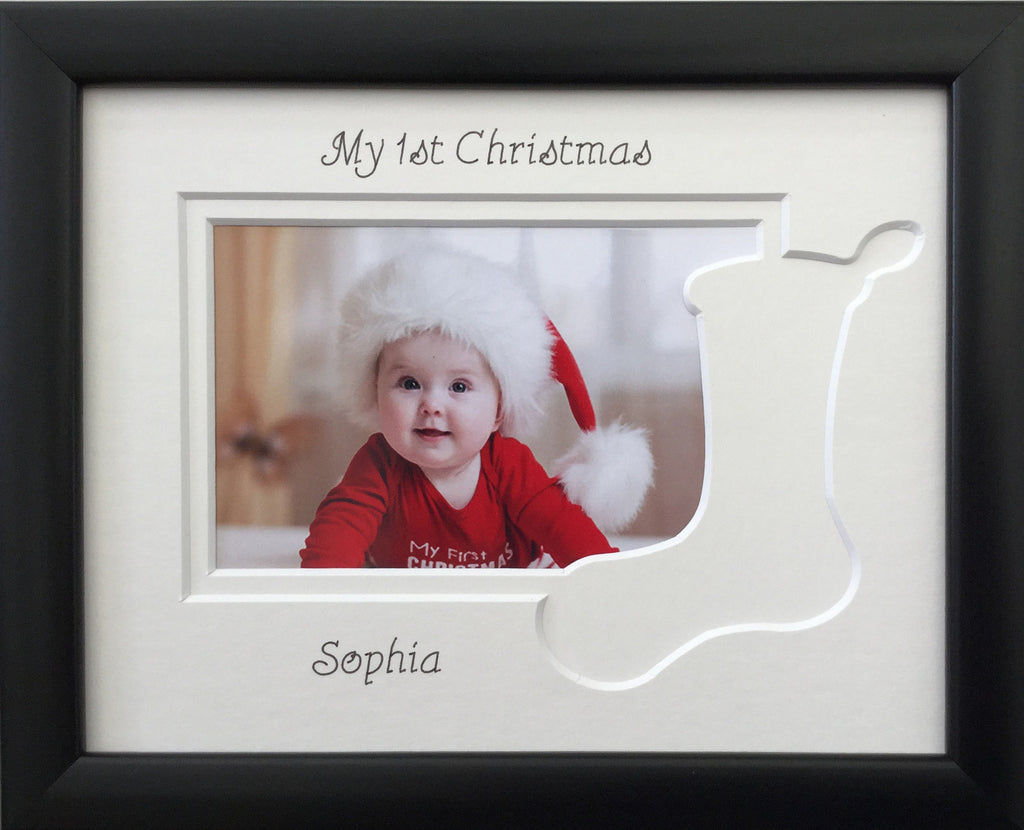 Personalised My First Christmas Photo Frame Stocking 9 x 7 Black