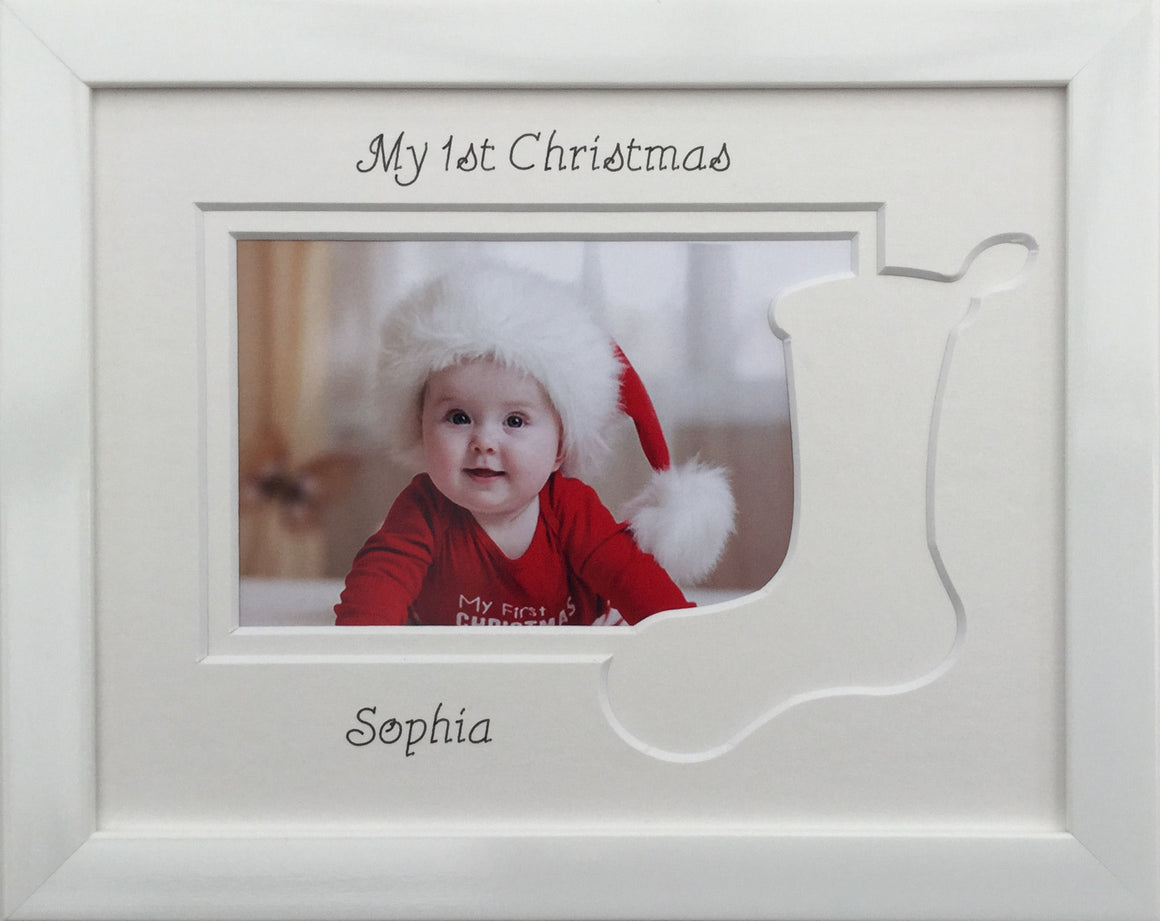 My First Christmas - Stocking, White Photo Frame 9 x 7
