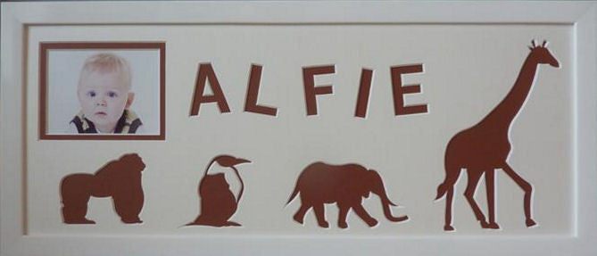 Name Photo Frame Zoo Animals - Coffee Brown