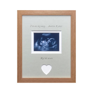 On my way Auntie 1st Baby Scan Photo Frame Beech, Grey mount