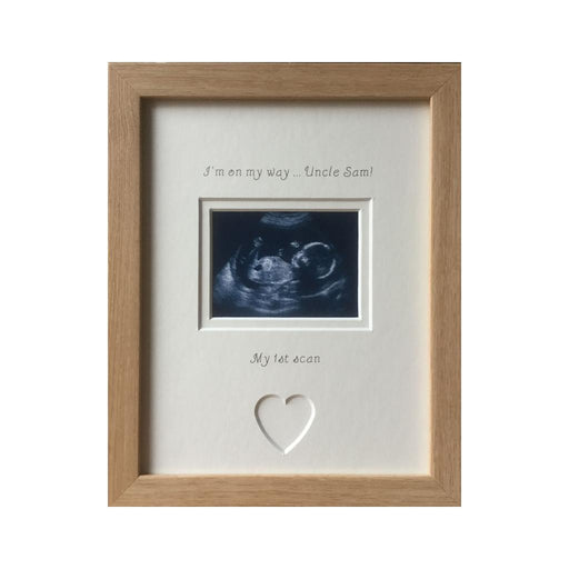 Personalised Uncle Im on my way 1st Baby Scan Photo Frame Beech