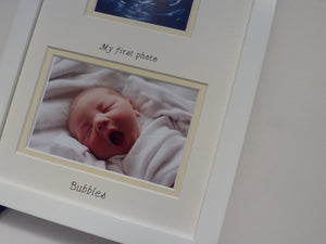 Pre-natal baby name inscribed - white frame