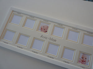 baby first year photo frame - cream 20 x 8