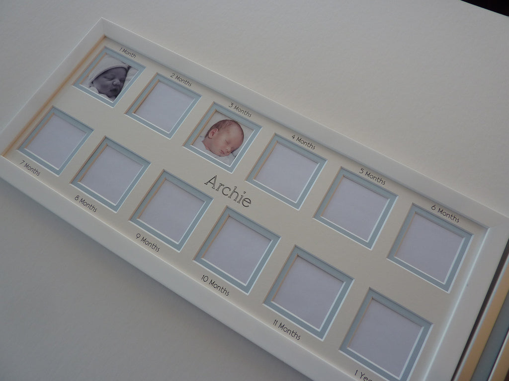 Personalised baby first year photo frame - blue