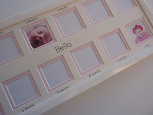 baby first year photo frame - pink 20 x 8