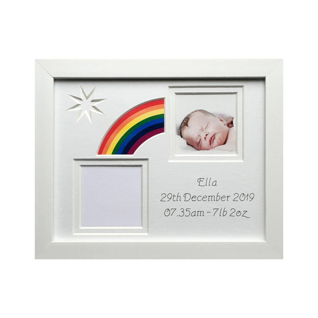 Rainbow Baby Photo Frame White