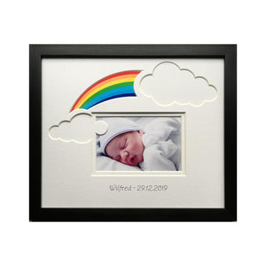 Rainbow Baby Clouds Personalised Photo Frame