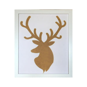 Stag Head Silhouette Picture Frame 12 x 10 White