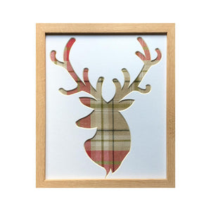 Stag Picture - Berridale Red Fabric