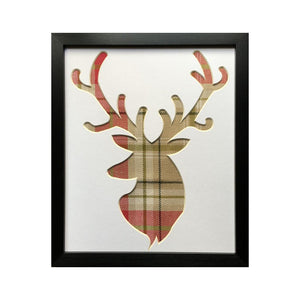 Stag Head Frame - Berridale Red Fabric