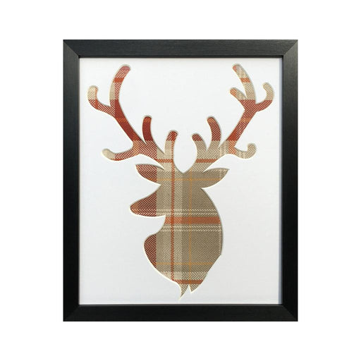 Stag Head Frame - Terracotta Fabric