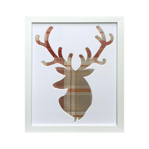 Stag Head Tartan Fabric Picture Frame 12 x 10 White