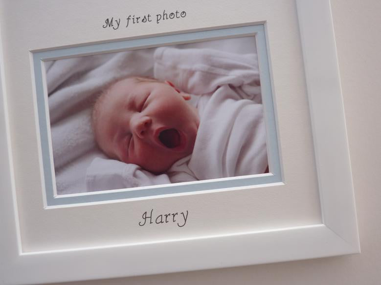 Triple scan baby boy personalised photo frame 20 x 8 white