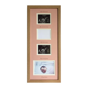 PINK PERSONALISED TRIPLE BABY SCAN PHOTO FRAME 20 X 8, BEECH