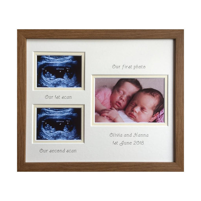 Double Scan Brother Sister Twin Photo Frame