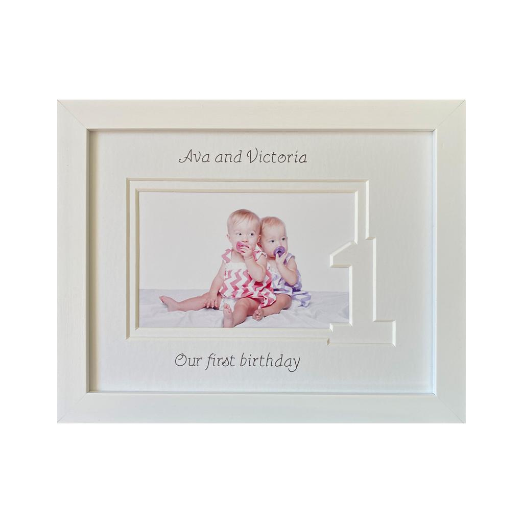 Sisters Twin first birthday photo frame