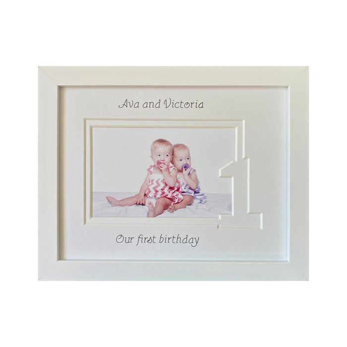 Sisters Twin first birthday white frame