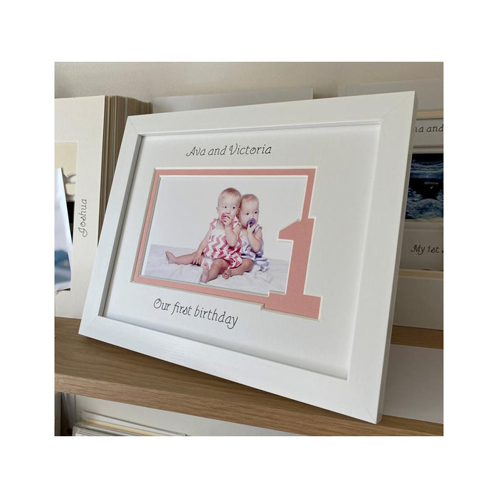 Twin Sisters First Birthday Photo Frame 9 x 7 White